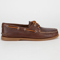 Sperry Top-Sider Authentic Original Cylcone Leather Mens Boat Shoes Brown  In Sizes