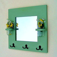 "Mirror - Coat Rack - Key Rack - Jar Vases - 20"" x 20"""