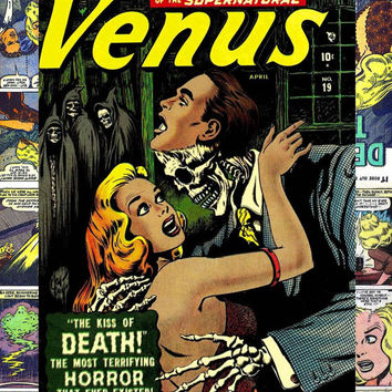 Atlas (Marvel) Venus #19 custom comic storage decoupage short box, Pre-code Golden age classic horror 1952