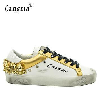 CANGMA Original Brand Gold Rhinestones Men Sneakers Shoes White Diamond Genuine Leather Bass Breathable Casual Man Shoes Crystal