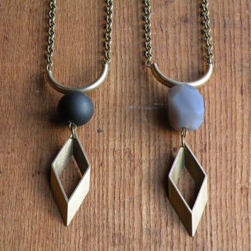 Brass Geometric Gemstone Necklace // Onyx & Agate // Long BOHEMIAN semi-precious stone Necklace//Boho chic Jewelry//Diamond triangle Lozenge