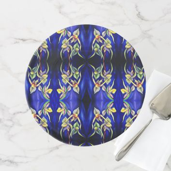 Blue orchids painting cake stand