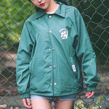 Dead flying skateboard tide retro big letters jacket men and women windbreaker street dance baseball clothing coat Dark green