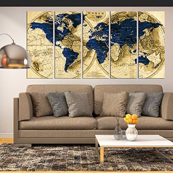 extra large wall art navy blue world map canvas print, Push Pin world Map wall art canvas print multi panel 5 pieces for dining room wall decal, large abstract art world map with details hr117