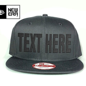 New Era Snapback Hat charcoal - Custom text embroidered - 9Fifty New Era Cap - Customized it