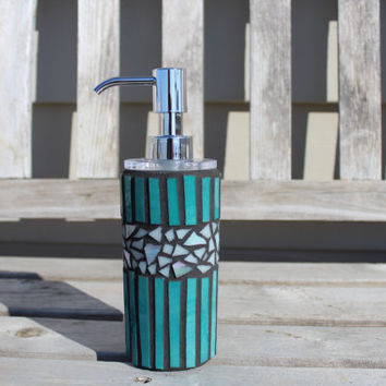Teal and white art glass mosaic soap/lotion dispenser, soap dispenser, lotion dispenser, mosaic dispenser, glass mosaic dispenser