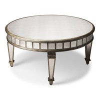 Garbo Transitional Round Cocktail Table Silver