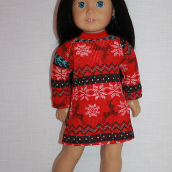 18 inch doll clothes, red fair isle print doll nightdress, matching handknit slippers, Christmas nightshirt, doll pjs,