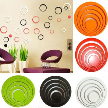 New 1 Set Fad Indoors Decoration Circles Stereo Removable 3D Art Wall Stickers