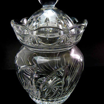 Vintage Hand Cut 24 Lead Crystal Bohemian IMPERLUX Lidded Biscuit Barrel Ginger Jar Tobacco Candy Wedding House Warming Mother  GIft