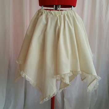 SALE ITEM: Cream Layered Handkerchief Skirt With Lace Trim