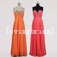 Long Beaded Coral Orange Pink Prom Dresses Party Dresses Homecoming Dresses 2014 New Fashion