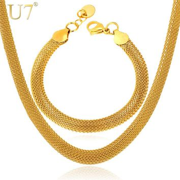 U7 Gold Color Mesh Necklace Set Stainless Steel Trendy Necklace/Bracelet Party Men Jewelry Set S502