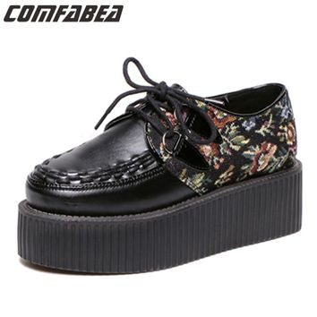 Size 39 The Newest design women patchwork platform creepers fashion Harajuku lace up goth punk shoes for woman