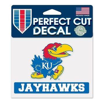 "Licensed Kansas Jayhawks Official NCAA 4"" x 5"" Die Cut Car Decal KU by Wincraft 383679 KO_19_1"