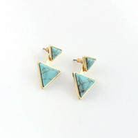 Minimalist Geometric Triangle Stone Ear Jacket Earrings by Fashnin.com