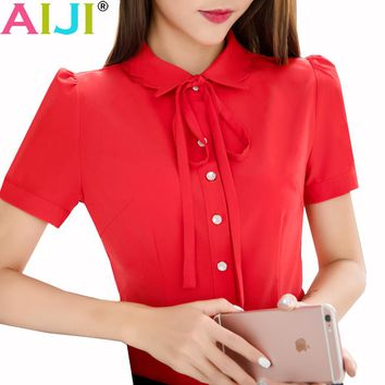 Blouse women short sleeve clothes OL Temperament business formal slim bow chiffon shirts office ladies plus size work wear tops