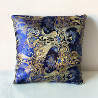 Blue & Gold Metallic Decorative Embroidered Chinese Silk Brocade Cushion Cover 16x16 or 18x18 inches