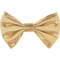 River Island Womens Gold lame hair bow