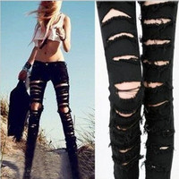 Black Cotton Denim Ripped Punk Cut-out Women Skinny pants Jeans Jeggings Trousers Size SML [8403190279]