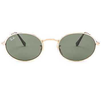 Ray-Ban Oval Flat in Gold & Green Classic | REVOLVE