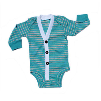 3M Only Baby Cardigan - Aqua with Grey Stripes Preppy Baby Boy Cardi - Perfect for a Winter Baby Shower Gift