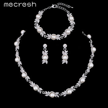 Mecresh Simulated Pearl Bridal Jewelry Sets Silver Color Wedding Necklace Sets Engagement Jewelry Accessories MTL444+MSL197