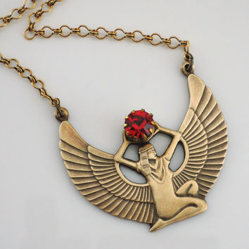 Vintage Necklace - Egyptian Jewelry - Ruby Necklace - ISIS Necklace - Cleopatra Necklace - Vintage Brass jewelry - handmade jewelry