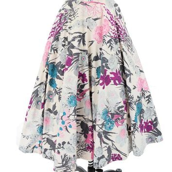 50s Rhinestone Accent Floral Swing Skirt