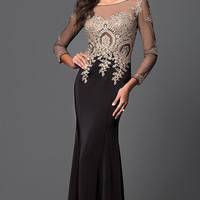 Floor Length Illusion Prom Dress with Jewel Detailing and Long Sleeves