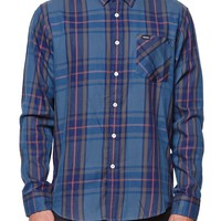 RVCA Elijah Long Sleeve Woven Shirt - Mens Shirts - Blue