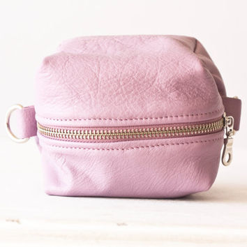 pink makeup case,radiant orchid bag in leather - Cube