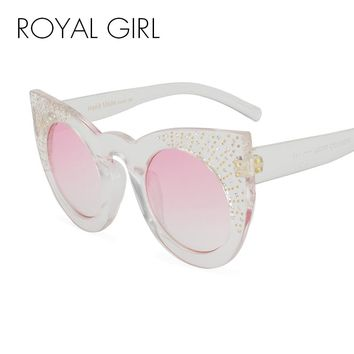 ROYAL GIRL 2017 Fashion Rhinestone Sunglasses Women Oversized Rivets Clear Transparent Sun glasses Luxury Flat Top UV400 ss238