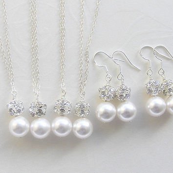 Bridesmaid gift-Set of 3, 4, 5, 6 Pearl Necklace and Earrings-Swarovski pearl necklace set-Wedding jewelry-Wedding necklace and earrings set