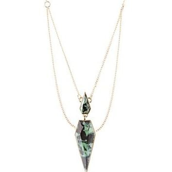 DOUBLE CHAIN FACETED STONE PENDANT