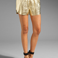 Clover Canyon Leather Short in Metallic Gold from REVOLVEclothing.com