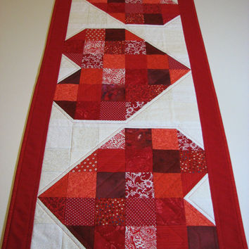 Quilted Valentine Table Runner--Red Scrappy Patchwork Hearts