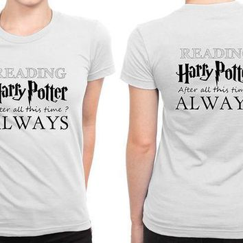 ESBH9S Harry Potter Always Reading B 2 Sided Womens T Shirt