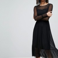 Stradivarius Mesh Maxi Dress at asos.com