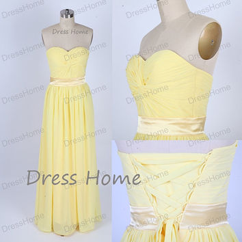 Sweetheart Yellow Bridesmaid Dresses/Long Prom Dress/Corset Prom Dress/Cheap Homecoming Dress/Party Dresses DH138