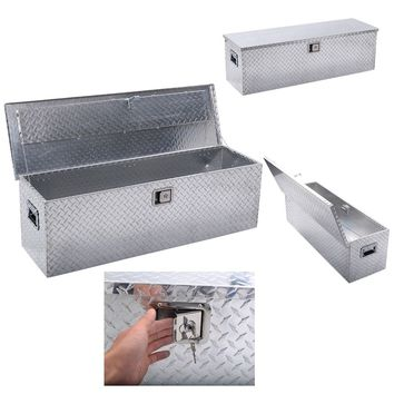 "49""x15""Aluminum Tool Box Tote Storage for Truck Pickup Bed Trailer Tongue W/Lock"