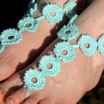 aqua Crochet Barefoot Sandals, Flower Sandles, beach shoes, lariat sandals, wedding bridal, barefoot sandles, aqua accessories, summer wear