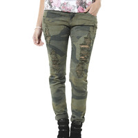 Camouflage Destroyed Skinny Jean | Shop Jeans at Wet Seal