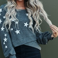 Star Gazer Sweater Top (Charcoal Gray)