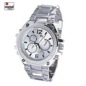 Jewelry Kay style Men's Luxury CZ Silver Plated Metal Band Bling Hip Hop Heavy Watches WM 6741 S
