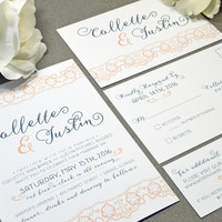 Rustic Lace Wedding Invitations Peach and Gray Pocket Invitation Modern Wedding Invitation Suite Calligraphy Wedding Invites Romantic Invite