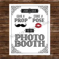 Photo Booth Sign, Ladies and Gents, Grab a Prop and Strike a Pose for our Photo Booth - 8x10 Wedding Photo Booth Props, White or Ivory Paper