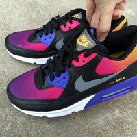 """Nike Air Max 90"" Women Sport Casual Gradient Color Air Cushion Sneakers Running Shoes"