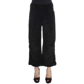 Ermanno Scervino Black Velvet Cotton Capri Bootcut Pants