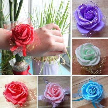 Wedding Artificial Ribbon Rose Wrist Hand Corsages Flower Bride Corsage Decor